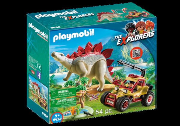 Explorer avec véhicule et stégosaure