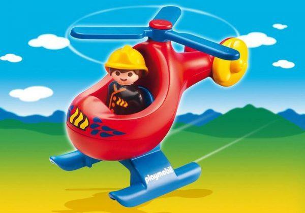 Pompier avec hélicoptère