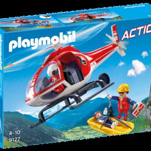 Secouristes des montagnes avec hélicoptère