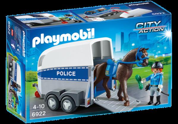 Policière avec cheval et remorque