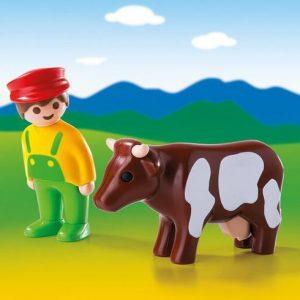 Eleveur avec vache