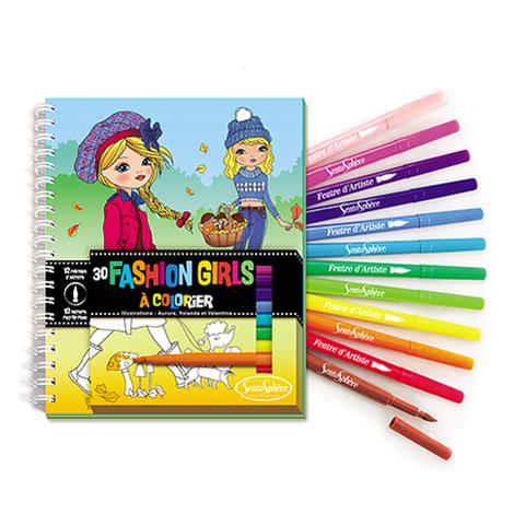 Carnet de Coloriage Fashion Girls + Feutres