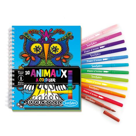 Carnet de Coloriage Animaux + Feutres