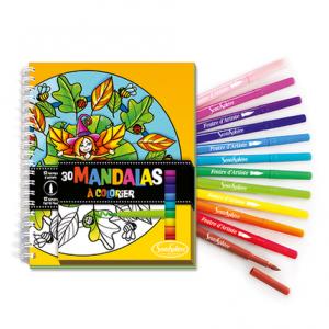 Carnet de Coloriage Mandalas + Feutres