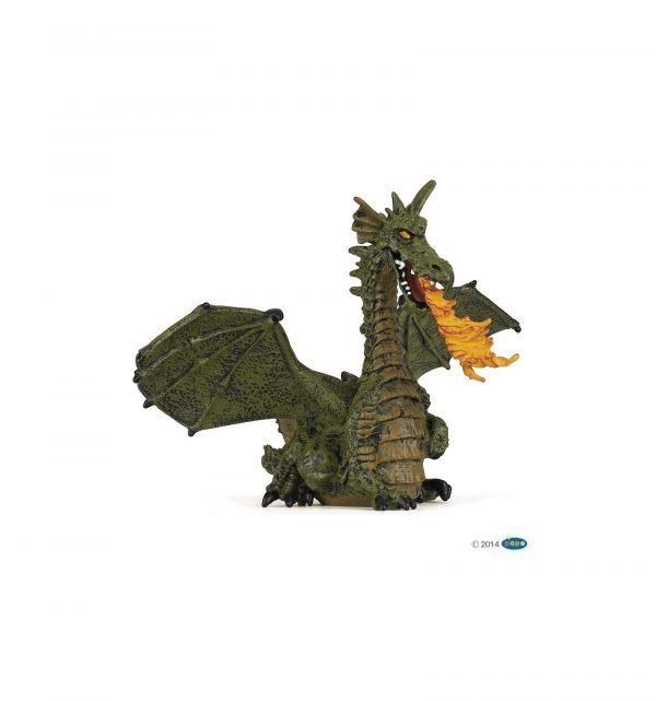 Dragon ailé vert avec flamme